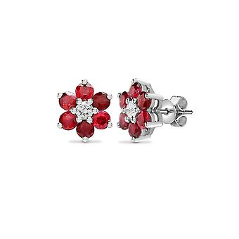 Jewelco London 18ct White Gold G SI 0.21ct Diamond and Red 1.8ct Ruby 7 Stone Flower Cluster Stud Earrings