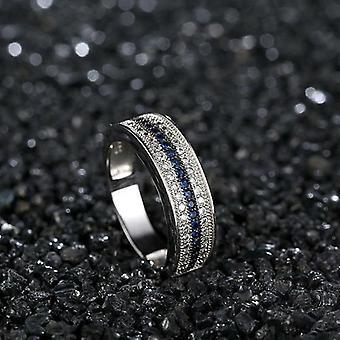 925 Sterling Silber Ring mit Runden Saphir Zirkon Edelstein