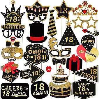 Luoem 18η γενέθλια φωτογραφία περίπτερο στηρίγματα 29pcs glitter 18η γιορτή γενεθλίων καλύτερο 18 πάρτι γενεθλίων