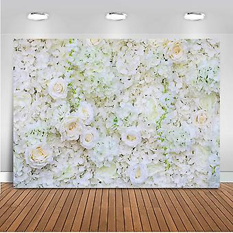 Mehofoto květina pozadí bílá růže svatební sprcha novorozenec fotobudka kulisy 7x5ft vinyl val