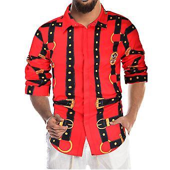 YANGFAN Men's Casual Printed Youth  Long-sleeved Shirt
