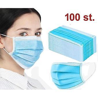 100 stk. Mundbeskytter med 3-lags - CE-godkendt