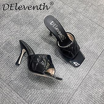 Square Toe, Quilted Mule, Pu High-heel Shoe