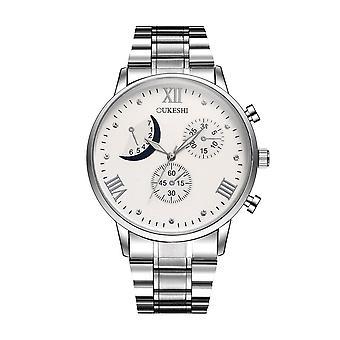 Fuld Stål Mænd Armbånd Watch Business Style Dekorative ringer rustfrit stål Quar