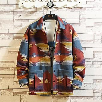 Jaqueta de lã de outono, impressão retrô masculina, casaco casual, roupas de rua masculinas soltas