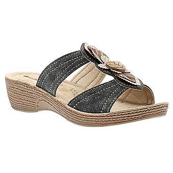 Inblu infer womens ladies wedge sandals black UK Size