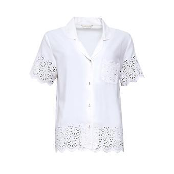 Cyberjammies Leah 4835 Dames's Wit Geborduurde Pyjama Top