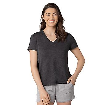 Womens Knit Short Sleeve V-Neck Top