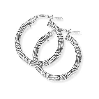 Jewelco Londres senhoras 9ct ouro branco Rock Candy Twisted Hoop Brincos-19mm