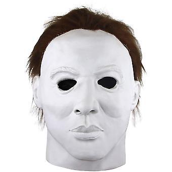 Michael Myers Mask Horror White Face Headgear Latex Rubber with Hair Halloween Fancy Dress