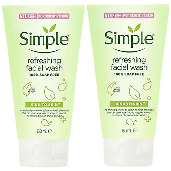 2x of 150ml Simple Kind to Skin Refreshing Facial Wash for Sensitive Skin