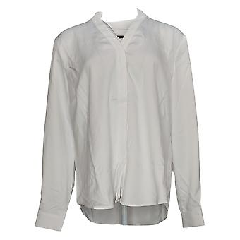 Elizabeth & Clarke Women's Top Stain-Repellent Roll Sleeve White A368602