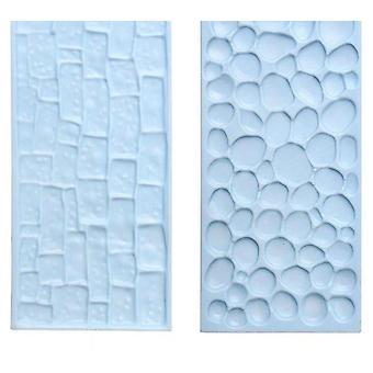 2 Conjunto de peças de moldes de cozimento 3d para chocolate, bolo, fondant e sugarcraft em padrões de pedra