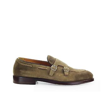 Doucal's Brown Suède Double Buckle Loafer