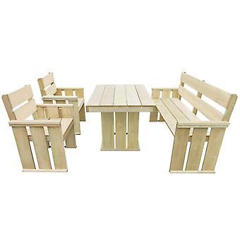 4 piezas de comedor al aire libre conjunto impregnado de madera de pino