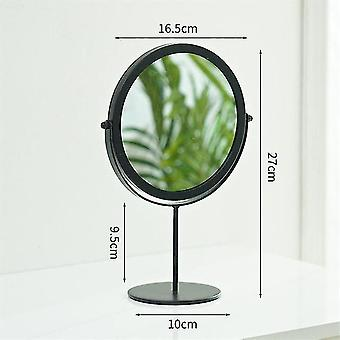 Portable 2 style spin makeup mirror retro metal gold home desktop square round shape mirror dormitory makeup mirror 20#