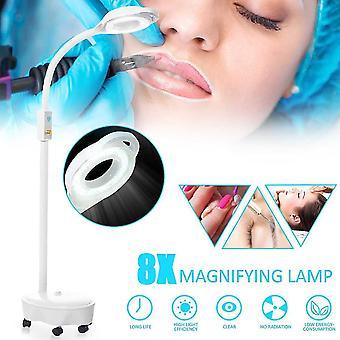 Salon tırnak dövmesi için Pro 8x diopter güzellik yüz ışığı 120 led büyüteç standı lamba büyüteç cam soğuk ligth len 220v
