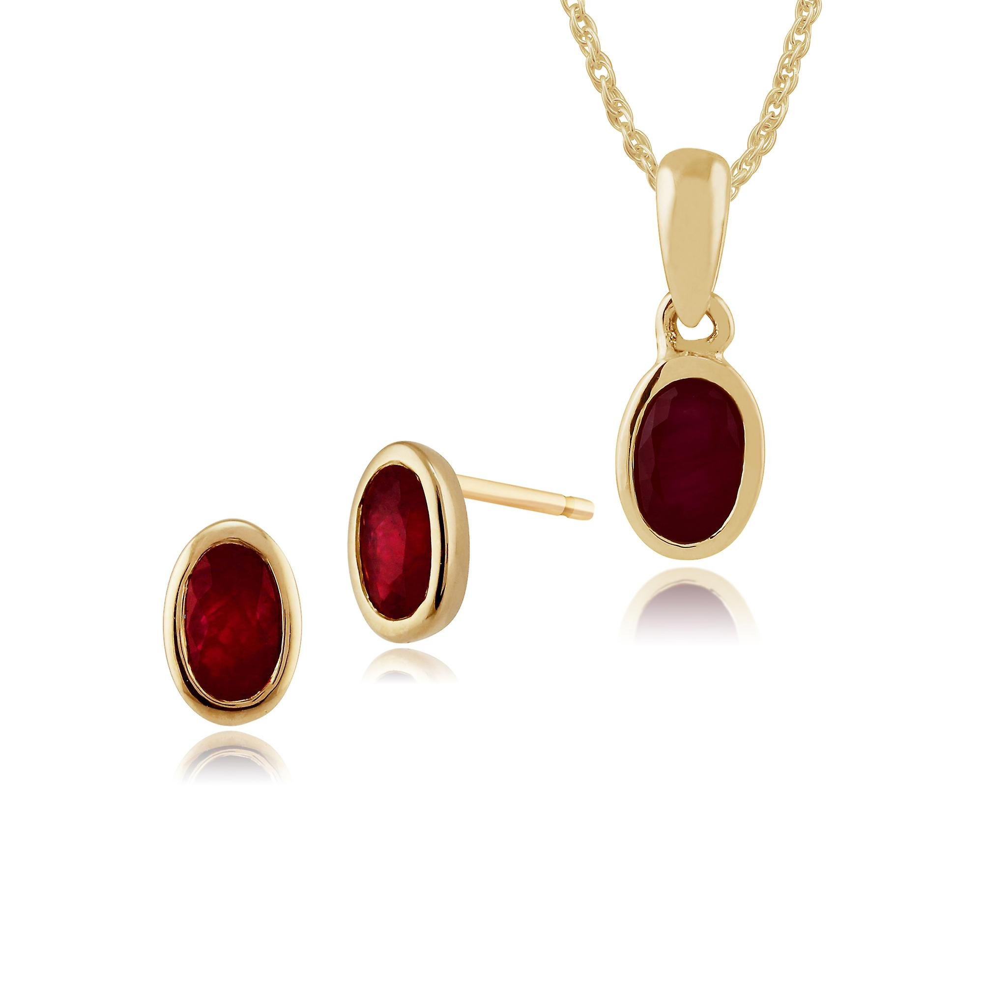Gemondo 9ct Yellow Gold Ruby Framed Stud Earrings & 45cm Necklace Set