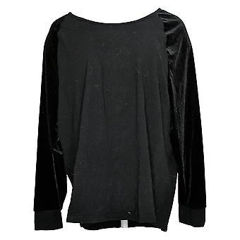 Belle Par Kim Gravel Women's Top Plus Velvet Raglan Sleeve Black A383526