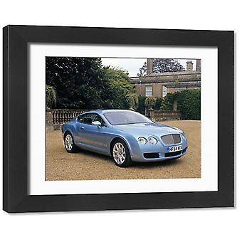 Bentley Continental GT, 2004, Blue, ice. Framed Photo. Bentley Continental GT 2004 Blue ice.