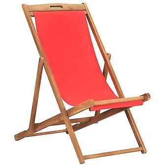 vidaXL Beach Chair Folding Solid Wood Teak Red