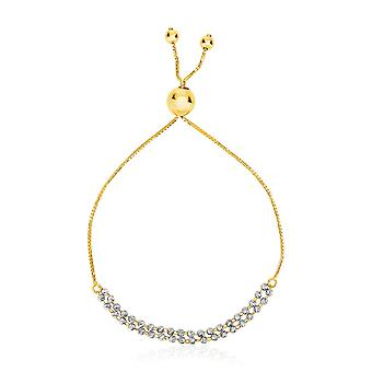 14k TwoTone Yellow and White Gold Adjustable Textured Bracelet
