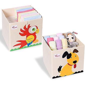 Gerui 2Pcs Foldable Animal Storage Toy Box/Bin/Cube - 33cm Organizer Container Cube Storage Box for