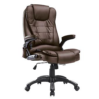 HOMCOM Vibrating Massage Heat Executive Home Office Chair Faux Leather Computer Swivel Recliner High Back for Adult, Brown