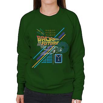 Back to the Future Delorean Outline Countdown Dames Sweatshirt