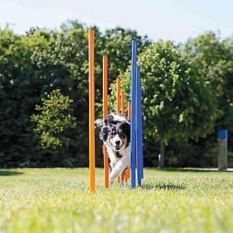 3206 Dog Activity Agility Slalom, Kunststoff, ø 3 × 115 cm, 12 St., blau/orange