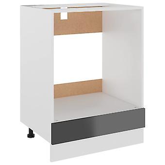 vidaXL kachelombouwkast hoogglans grijs 60x46x81,5 cm spaanplaat