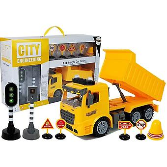Spielzeug-Muldenkipper mit Verkehrsschildern und Ampel - 27,5 x 10 x 14 cm