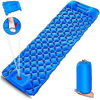 Matelas gonflable camping matelas pneumatique pneumatique avec oreiller pour la randonnée voyage (bleu)