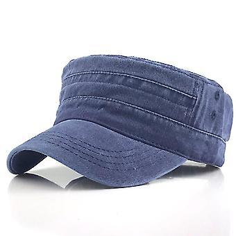 Casual Katoen Soldier Denim Sun Hat Visor Solid Flat (Marineblauw)