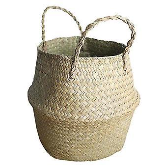 (27 x 24 CM) Woven Storage Flower Plants Seagrass Wicker Basket Straw Pots Bag Home Decors