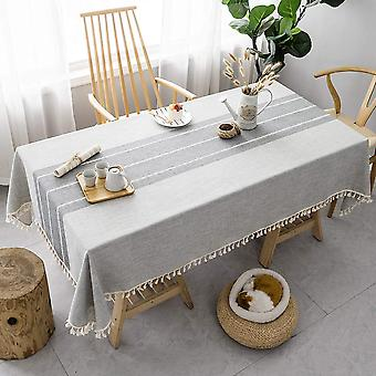 Stitching tassel tablecloth, cotton linen fabric wrinkle free anti-fading dust-proof washable tabletop decoration for kitchen party, grey