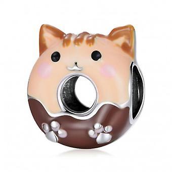 Sterling Silber Charm Katze Donut - 7200