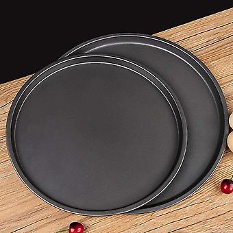 2-pack Round Pizza Baking Pan, Non-stick, For Pizza Oven, Grills And Kitchen Accessories - 22.9cm, 28cm, Black