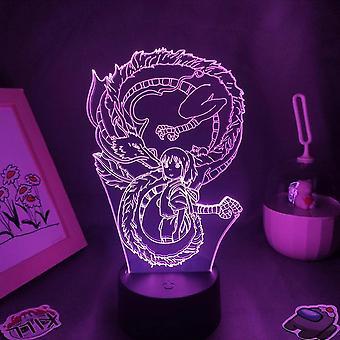 Spirited Away White Dragon Light Anime Lamp 3d dla sypialni dziecięcej (16 kolorów z pilotem)
