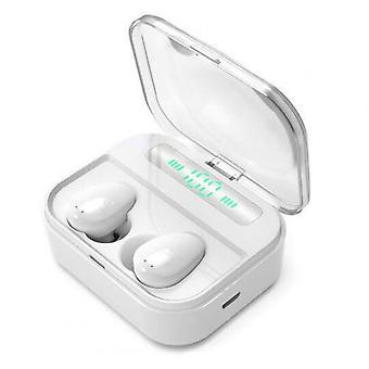 X7 Trådlösa öronsnäckor Bluetooth 5.0 Öronsnäckor Fingeravtryck Touch Bluetooth Hörlurar Mini Ipx7 Vattentäta Hörlurar Vit