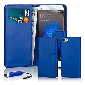 32 ° libro portafoglio custodia + stilo per Xiaomi Mi5 - Deep Blue
