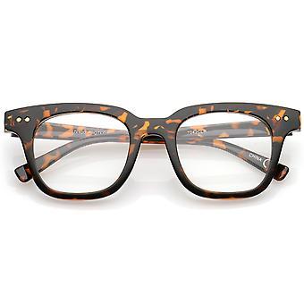 近代的な金属リベット スクエア クリア フラット レンズ角縁眼鏡 46 mm