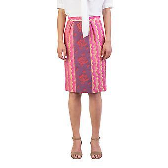 Miu Miu Women's Cotton Blend Floral Print Skirt Gold