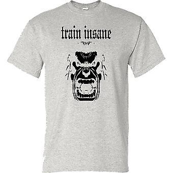 Trein krankzinnig Fitness Gym Training Bodybuilding Mens T Shirt