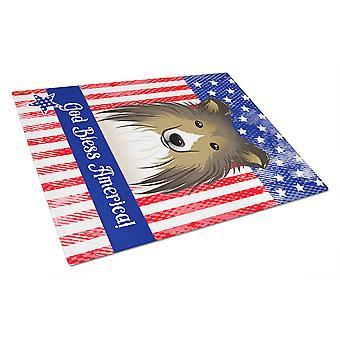 Gud välsigne amerikanska flaggan med Sheltie glas skärbräda stor