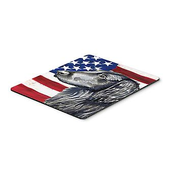 USA American Flag with Flat Coated Retriever Mouse Pad, Hot Pad or Trivet