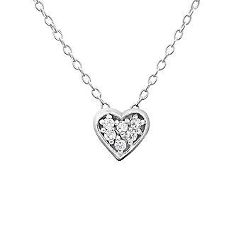 القلب - 925 الجنيه الاسترليني الفضة مرصع بالجواهر قلادات - W18530X