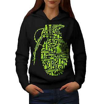 Gun Grenade War Gangster Women BlackHoodie | Wellcoda