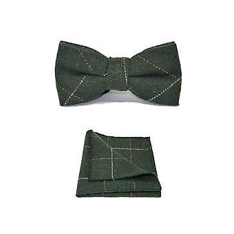 Luxury Herringbone Forest Green Tweed Men's Bow Tie & Pocket Square Set