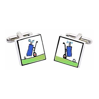 Golf Trolley Cufflinks by Sonia Spencer, in Presentation Gift Box. Hand painted